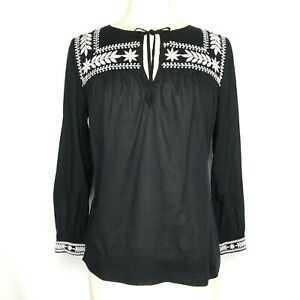 J Crew Womens Embroidered Cotton Voile Top Shirt XS Black White Peasant Blouse