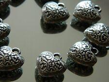 Schmuck Deko Herzen Metall ca. 2 cm filigran Herz Dekoration Basteln 10 Stück