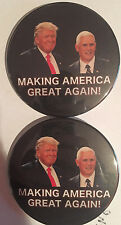 "Lot of 2 Donald Trump Mike Pence ""Making America Great Again"" button pin"