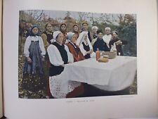 russie: Gravure 19° in folio couleur /Noce russe au village