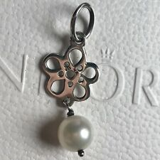 New Genuine Retired Pandora Silver White Pearl And Flower Dangle Charm