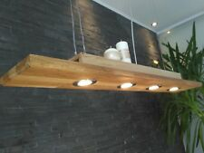 Dimmbare LED Hängelampe Holz Eiche Hängeleuchte Pendelleuchte 120cm Vintage GU10