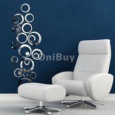24x Cercle Stickers Muraux Miroir Autocollant Amovible Décoration Murale DIY