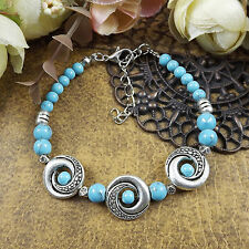 HOT Free shipping New Tibet silver multicolor jade turquoise bead bracelet S71