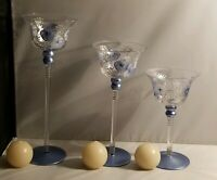 Madiggan Australia Glass Handpainted Candleholders - Set of 3 With Ball Candles