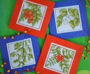Winter Snow Berry Rowan Mistletoe Hawthorn Christmas Cards Cross Stitch Chart