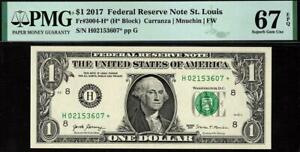 2017* $1 St. Louis STAR Federal Reserve Note FRN 3004-H* PMG 67 EPQ Only 2 Finer