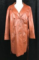 Women's Orange GENUINE LEATHER Trench Coat / Jacket Size M