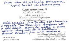 ALEC SINIAVINE Composer autographed letter signed about Django Reinhardt on CDV