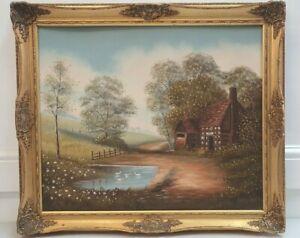 Original rural farmhouse / cottage oil on canvas 71 x 62 cm ornate frame I2Y267