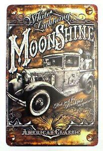American White Lightning Moonshine Pub, Home Bar Metal Wall Sign Door 30 x 20 cm