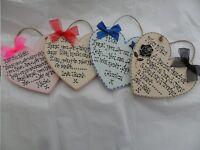 Handmade Wooden THANK YOU, TEACHER, FRIEND ETC HEART plaque - keepsake, gift