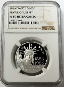1986 PLATINUM FRANCE 100 FRANCS STATUE OF LIBERTY COIN NGC PROOF 69 ULTRA CAMEO