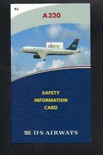 U S AIRWAYS AIRBUS A320 SAFETY CARD 2010 LAST LIVERY R2