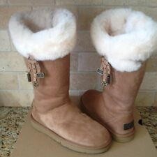 UGG Plumdale Charms Chestnut Suede Sheepskin Cuff Zip Tall Boots US 6 Womens