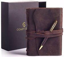 "Vintage Leather Journal - Travel Diary For Men & Women 7""x5""- LUXURY Gift Set -"