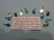 lot de 12 petite medaille Miraculeuse + M .Marie métal doré émail bleu enamel