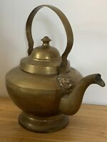 Antique Huge Heavy Brass Kettle Tea Pot - Lion Detail