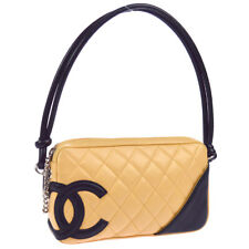 CHANEL Cambon Line Quilted CC Hand Bag Purse Beige Black Leather 9033905 S09309a
