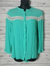 Kori L Large Long Sleeve Teal Button Front Crochet Knit Accent Stretch Top