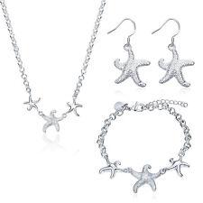 925 Silver Starfish Necklace+Drop Earrings+Bracelet Jewelry Set Chain Pendants