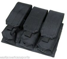 Black MOLLE Triple Mag Pouch M4 M16 AR-15 AK-47 Gun Magazine Holster Holds 6