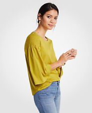NWT Ann Taylor Smocked Shoulder Tee Size XS Yellow Lime 12