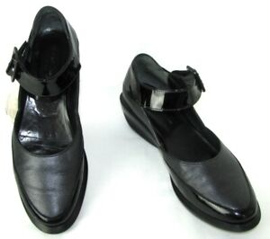 ROBERT CLERGERIE Shoes Flange Black Patent Leather And Anthracite 5 = 36.5 37