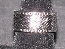 MEN'S STAINLESS STEEL SILVERTONE DIAMOND PATTERN BAND RING SIZE 8 3/4 NEW