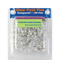 "100 Pcs Push Pin Thumb Tack Clear Color 3/8"" Message Board Office Push Pin"