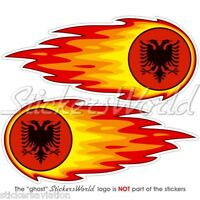 "ALBANIA Albanian Fireball-Fire-Flaming 125mm(5"") Bumper-Helmet Sticker Decal x2"