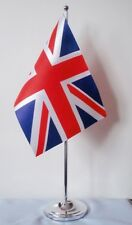 "UNION JACK DELUXE SATIN TABLE FLAG 9""X6"" CHROME POLE & BASE Stands 15"" high UK"