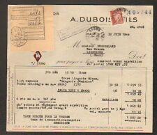 "PARIS (II°) TISSUS en gros ""MONTISSU / A. DUBOIS & Fils"" voyagée en 1944"