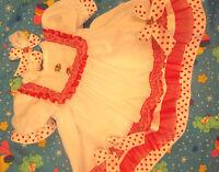 DREAM BABY GIRLS RED TULLE  TRIM DRESS NEWBORN 0-3 3- 6 MONTHS  or REBORN DOLLS