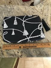 Chicos NWT Black Printed Tassel Cosmetic Case Clutch Tech Case