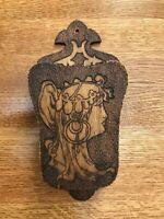 Antique Pyrography Art Noveau Whisk Broom Holder