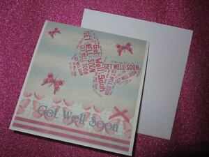 "Handmade GET WELL SOON card - 6"" x 6"" including Envelope - Hammered effect card"