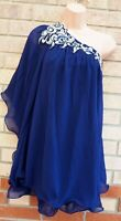 QUIZ NAVY BLUE SILVER BEADED SEQUIN ONE SHOULDER FLARE WIGGLE TRIM TOP BLOUSE 12
