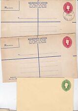 * c.1969 x 3 MINT POSTAL STATIONERY FIJI INC 2 REGISTERED ENVELOPES 1 USED SUVA