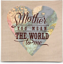 """Mother You Mean The World To Me 5""""x5"""" Canvas Plaque New Heart Globe Mother's Day"""