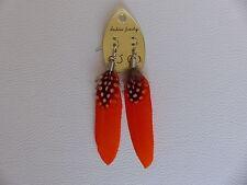 Boucles d'Oreilles Country en Plumes Véritables Orange - Bijoux des Lys