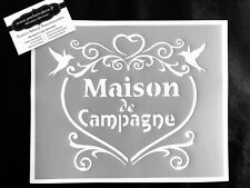 Pochoir Adhésif Réutilisable 25 x 20 cm Cœur Maison De Campagne / Made Un FR