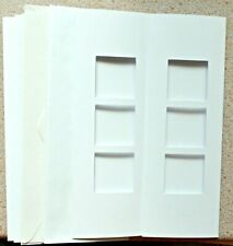 5 Double Fold White Card Blanks 74 x 210mm with 3 x 38mm Sq Apertures NEW