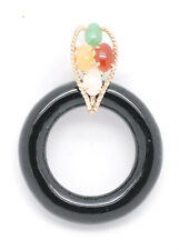 14k Yellow Gold Multi Color Jade Circle Pendant Beautiful and Unique