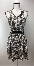 Soprano Skater Dress M Medium Scoop Neck Sleeveless Textured Print Black White