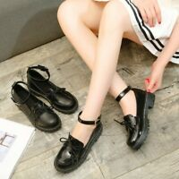 Womens Casual Thick Sole Shoes Round Toe Ankle Buckle Chunky Heels Creepers