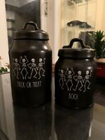 """New Rae Dunn Black TRICK OR TREAT 7""""  and 5.5""""Boo Skeleton Canister By Magenta"""