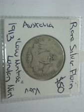 Australia 1913 Silver Florin Coin Rare Low Mintage  KGV London Mint $50