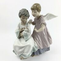 """Lladro #6085 Angelic Harmony Pair Of Angels Puppy Dog Large 10"""" Signed By Family"""
