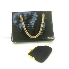 Koret Blue Embossed Patent Leather Hand Bag Snap Closure Attached Change Purse